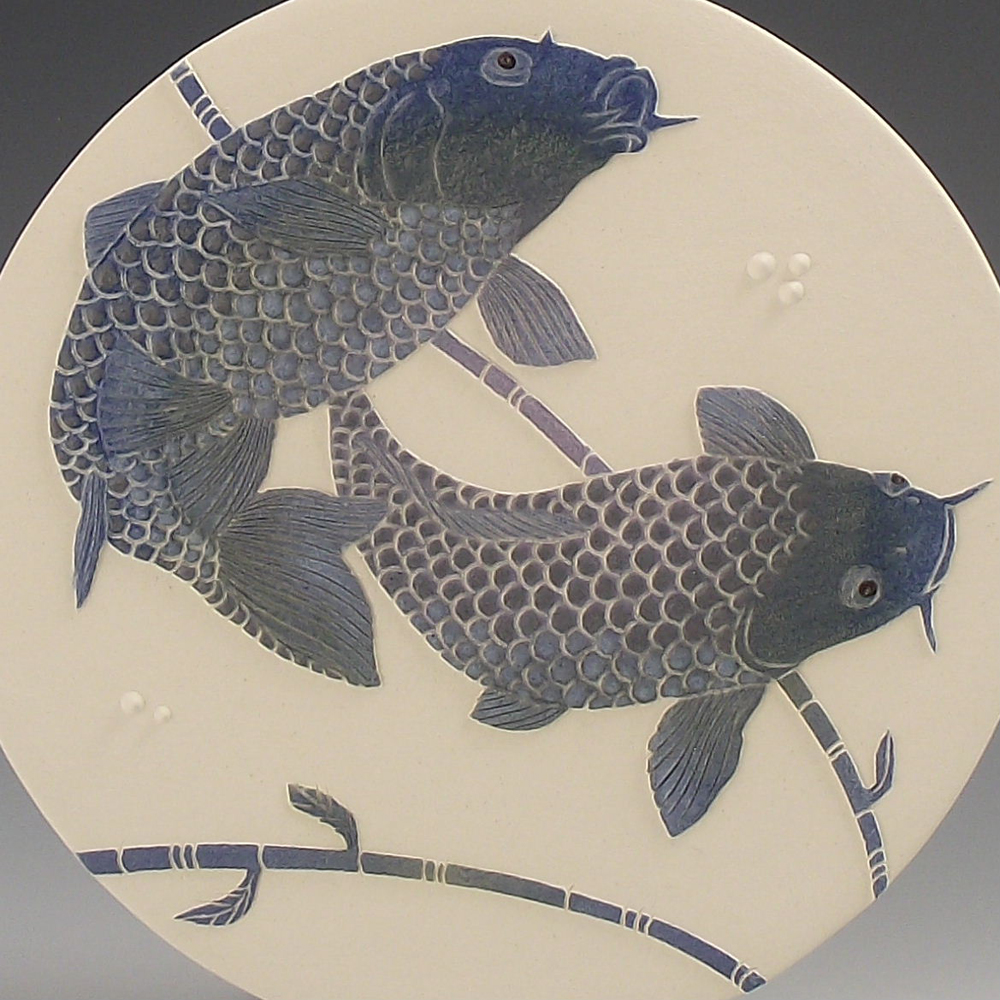 Koi Carp in Greys & Blue